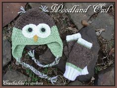 I designed the knitted fingerless gloves shown to match the crocheted owl hat I made for my sister. My free pattern for the gloves can be found here: http://www.ravelry.com/projects/splatterpunked/woodland-owl-fingerless-mitts. And the owl hat pattern is free on ravelry here: http://www.ravelry.com/patterns/library/crochet-owl-hats
