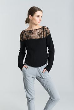 Sheer Sweater / Handknitted Blouse / Transparent von marcellamoda
