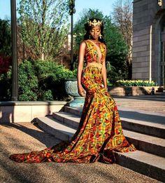 Long African kente prom dress/ghana clothing/African print prom dress/African women attire/Ankara dress for prom/African clothing for women African Inspired Fashion, African Print Fashion, Africa Fashion, African Fashion Dresses, Fashion Outfits, African Prints, Ghana Fashion, African Outfits, Fashion Art