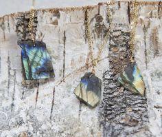 Rough raw slab labradorite stone necklace gold filled by byVellamo