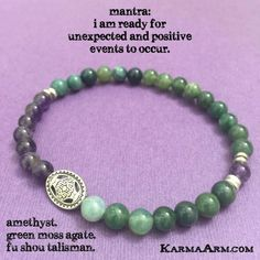 """Green Moss Agate attracts wealth and abundance, improves self-esteem, and helps to calm and release fears. It also comforts and soothes emotional wounds…… Amethyst was used in ancient times to recover from both physical addictions as well as addictive relationships, and became known as the """"Stone of Sobriety""""…..      FU SHOU: Amethyst • Green Moss Agate Yoga Mala Bead Bracelet - Karma Arm"""