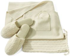 This cream cashmere travel set is just gorgeous!