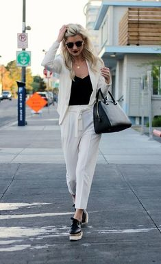 Breezy White Pantsuit - How to Wear Oxford Shoes Like the Fashion Badass You Are - Photos