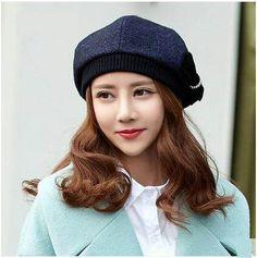 a97a3cf69591e Elegant bow beret hat for women navy wool hats autumn wear