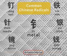 金字旁 (jīn zì páng) meaning metal character on the side is found in metal type characters. Mandarin Lessons, Learn Mandarin, Chinese Language, Japanese Language, Spanish Language, Chinese Lessons, French Lessons, Spanish Lessons, Mandarin Characters