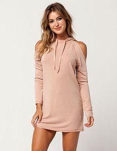 c8cf729682601 GYPSIES   MOONDUST Cold Shoulder Hoodie Dress Pink Pant Shirt