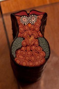 Polymer Clay Owl Cane made by www.MadMadme.com
