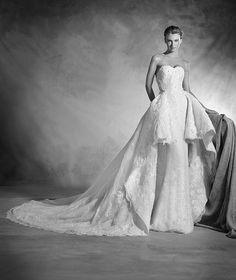 Nancy - Mermaid wedding dress in lace, organza and gemstones