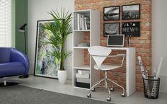 Você não tem um espaço grande para um home office? Sem problemas! Este móvel por exemplo, é pequeno, mas contém tudo o que você precisa de começo. Uma escrivaninha com uma pequena estante ao lado, tornando-se uma peça prática e cheia de utilidades! ;)  → http://carrodemo.la/b51c4