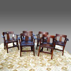 RARE set of six LIMBERT cafe chairs  Mission A&C Stickley  era   w2623