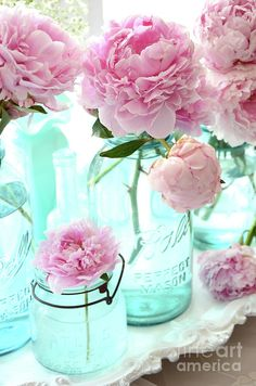Pink Peonies In Blue Aqua Mason Ball Jars - Romantic Shabby Chic Cottage Peonies Flower Nature Decor Photograph by Kathy Fornal