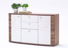 Sideboard Sunday Weiß Hochglanz 9282. Buy now at https://www.moebel-wohnbar.de/sideboard-weiss-hochglanz-sunday-mit-absetzungen-eiche-trueffel-9282.html