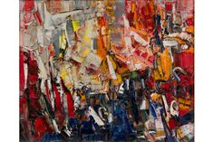 """Jean-Paul Riopelle (Canadian, 1923-2002), Folâtre, 1957. Signed lower right """"Riopelle"""". Oil on canvas, 23 ½ x 28 ½ inches"""
