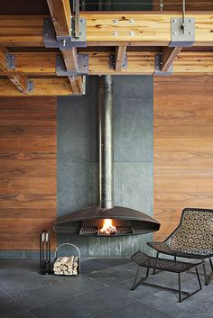 Metal and wood combo for fireplace in family room - different firebox