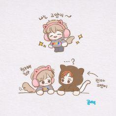 Exo Cartoon, Chibi, Exo Fan Art, Chanbaek, Exo Ot12, Short Comics, My Youth, Kpop, Doodle Art