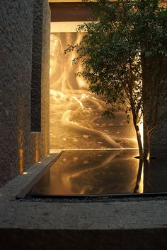 """""""Into the night / The conversation fades away / Losing the drift / Of all the things I had to say"""" - SUPERGRASS - ('Nueve Nueve' Restaurant by Sordo Madaleno Architects) Interior Garden, Home Interior Design, Interior And Exterior, Architecture Details, Landscape Architecture, Landscape Design, Landscape Lighting, Outdoor Lighting, Lighting Ideas"""