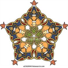 Clip Art of Blue, orange, red and gold interlaced Arabesque Design u23629049 - Search Clipart, Illustration Posters, Drawings, and EPS Vector Graphics Images - u23629049.eps