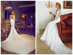 2015 Custom Wedding Dresses V-Neck Long-Sleeved Chiffon Halter Wedding Ball Gown Sexy Mermaid Church Wedding Gowns Online with $164.4/Piece on Weddingmall1989's Store | DHgate.com