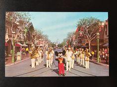 Vintage Disneyland Main Street U.S.A. Postcard - Disneyland Band and Mickey Mouse by VintageDisneyana on Etsy