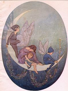 Vintage Fairy Illustration--Hilda Miller--On The Half Moon-- / nice signs - Juxtapost Art Et Illustration, Illustrations, Vintage Fairies, Vintage Art, Vintage Prints, Fairy Land, Fairy Tales, Photowall Ideas, Kobold