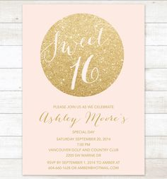 pink gold sweet 16 birthday invitation, sweet sixteen invitation, pink gold glitter invitation digital invite customizable by pinkdahliaprintable on Etsy https://www.etsy.com/listing/209151737/pink-gold-sweet-16-birthday-invitation