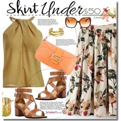 A fashion look from July 2016 by beebeely-look featuring Fendi, Elizabeth and James, Dolce&Gabbana, floralprint, summerstyle, sammydress, under50 and skirtunder50
