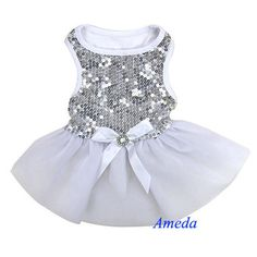 New Tea Rose Peach Pink Flower Crystal Bow Party Dress Small Pet ...