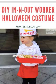 The easiest DIY Halloween Costume for In-N-Out employee - Twin Tested Last Minute Halloween Costumes, Toddler Halloween Costumes, Cute Costumes, Halloween Diy, Costume Ideas, Chocolate Shake, Animal Fashion, Super Simple, Cute Kids