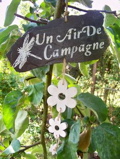 "de jardin suspension ardoise ""un air campagne""b."