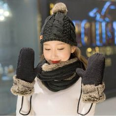 ab58b05be88 Christmas hat scarf and gloves set for women Fur fleece design. Warm Winter  HatsCable ...