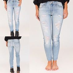 Such an adorable pair of jeans  Light distressing, variances in color and perfectly placed holes add edge to any outfit! ✨✨ | Jenny Jeans
