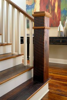 Our Cabin Rustic grade not only makes a gorgeous floor but also can be a statement piece for your stair case. Our custom newel post and stair treads add  the perfect statement for your home.