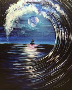The waves are rolling and the moon light is shining in Moonlit Wave! - Galaxy Painting - Step By Step Acrylic Painting Tutorial Black Canvas Art, Black Canvas Paintings, Canvas Canvas, Paintings With Black Background, Dark Paintings, Black Painting, Canvas Ideas, Acrylic Art, Acrylic Painting Canvas