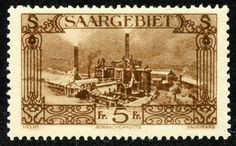 """Saar 1927 Scott 135 5fr deep brown """"Burbach Steelworks"""" One of the stamps in the Big Blue checklist"""