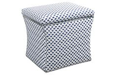 Navy Dot Storage Ottoman--Perfect for a nursery, living room, or kids room!
