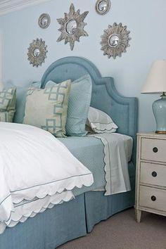 Bedrooms Silver Sunburst Mirrors Blue Headboard Bed Skirt Gray Pillows White Ruffled Duvet