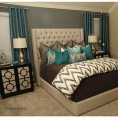 Master bedroom decor, A fantastic trick for decorating a small space look larger would be to add mirrors. Mirrors are good for setting up a room look bigger and much better.Purchase a beautiful mirror for the interior design project. Dream Rooms, Dream Bedroom, Home Bedroom, Teal Master Bedroom, Master Bedrooms, Bedroom Colors, Master Room, Bedroom Wall, Purple Bedroom Decor