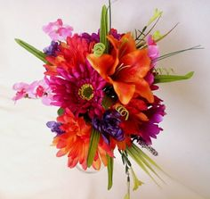 Bridal Bouquet Tangerine Orange Purple Tropical silk wedding Flowers Destination Wedding