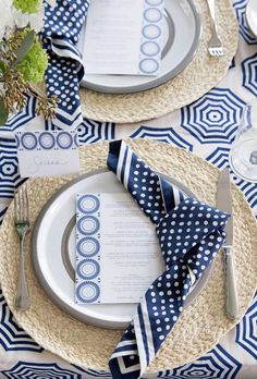 Blue and white beachy tablescape --love the napkin ties