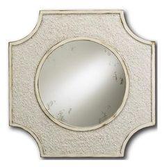 Crushed Shell Coastal Beach Antique White Elegant Mirror. #kathykuohome #mirror #CoastalBeach