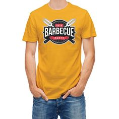 T-shirt Grill Barbecue party logo Yellow Gold M - Brought to you by Avarsha.com