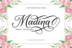 Madina feels both magical and elegant. It looks stunning on wedding invitations, thank you cards, quotes, greeting cards, logos, business... Script Typeface, Modern Script Font, Hand Lettering Fonts, Calligraphy Fonts, Typography Fonts, Modern Calligraphy, Handwritten Fonts, Best Free Script Fonts, All Fonts