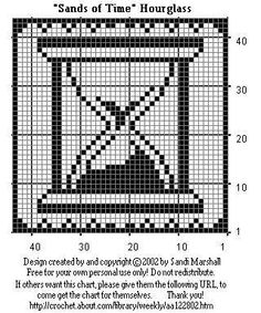 """Sands of Time"" Hourglass Design For Filet Crochet or Cross-Stitch"