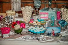 Pink and turquoise candy buffet