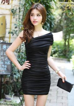 Grecian Ruched Dinner Dress - Black