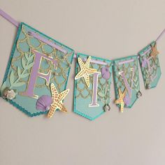 Special 5th birthday banner headed out! It's fun to be five! Mermaid style! #poppiesandpapershop #etsy #mermaid #mermaidbanner #mermaidparty