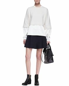 3.1 Phillip LimDouble-Layer Combo Sweatshirt and Pleated Wide-Leg Shorts