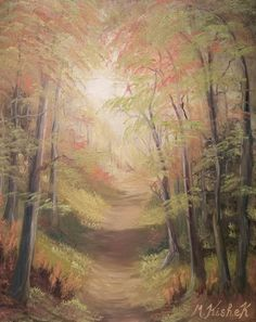 "(c) ""Pathway Autumn Splendor"". Oil on canvas painting by M. Done this one today with a limited palette. g_trail Pathways, Landscape Paintings, Oil On Canvas, Trail, Palette, Colours, Nature Tree, Wizards, Lovers"