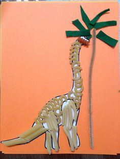 Preschool craft Pasta dinosaur