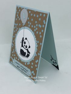 Cute 1st Birthday card with those adorable Party Pandas on Foil Frenzy and Soft Sky card. #stampingup #partypandas